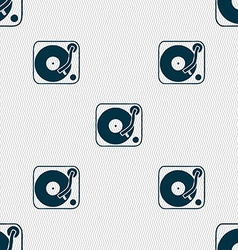 Gramophone vinyl icon sign Seamless pattern with vector image