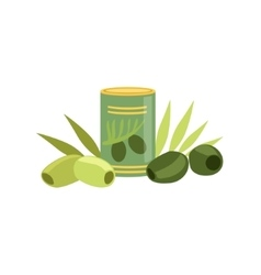 Green And Black Olives Set Of Pizza Ingredients vector