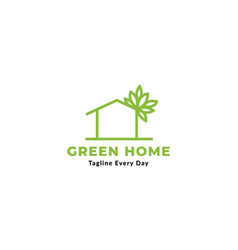 Green home or garden line with plant vector