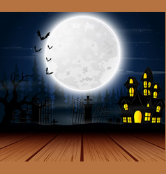 Halloween background with haunted house on the ful vector