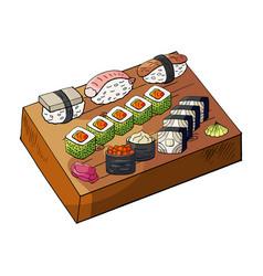 hand drawn japan sushi set on wooden deck vector image