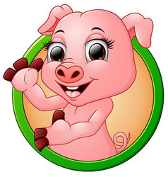 Happy smiling little baby cartoon pig in round fra vector