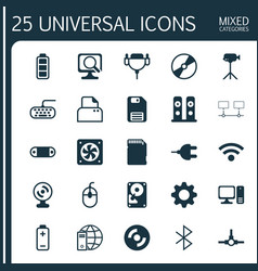 Hardware icons set collection of file scanner vector