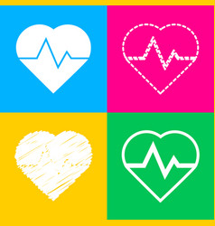 heartbeat sign four styles of icon vector image