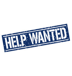 Help wanted square grunge stamp vector