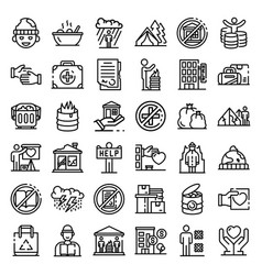 Homeless shelter icons set outline style vector