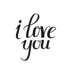 i love you lettering elegant hand drawn vector image