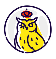 icon an owl flat icon wise owl in crown vector image