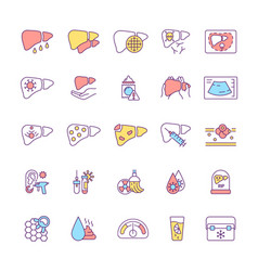 Inflammatory diseases rgb color icons set vector
