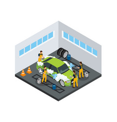isometric carwash service concept vector image
