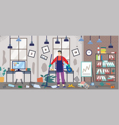Janitor or janitor man on dirty office background vector