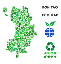 Leaf green mosaic koh tao thai island map vector