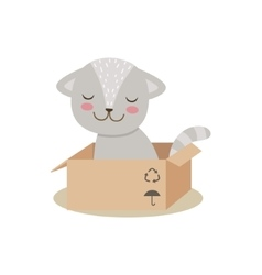 Little Girly Cute Kitten Sitting In Cardboard Box vector