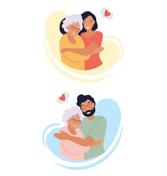 loving man and woman hugging mother vector image