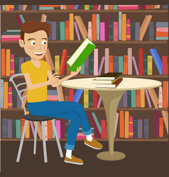 Male student reads textbook in college library vector