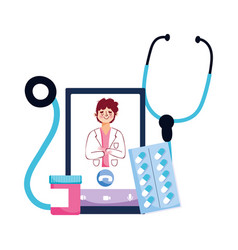 Man doctor stethoscope pills and smartphone vector