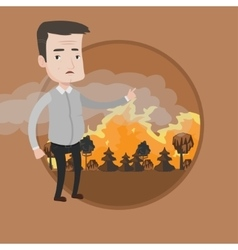 Man standing on background of forest fire vector