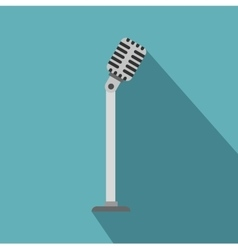 Microphone on stand icon flat style vector image