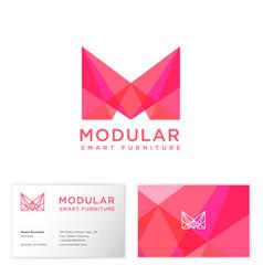 modular logo furniture shop m crystal monogram vector image