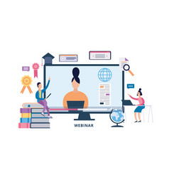 online webinar banner - computer monitor with vector image