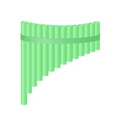 Pan flute in light green design vector