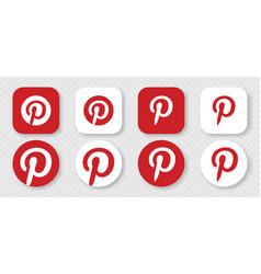 pinterest icons set logo pinterest vector image