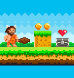 Pixelated natural landscape with caveman standing vector