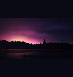 Purple landscape with sunrise river starry sky vector