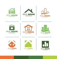 Real estate logo set icon company vector