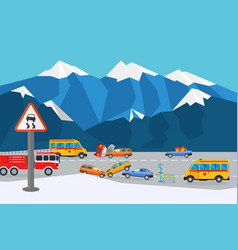 reanimation at traffic accident place result vector image