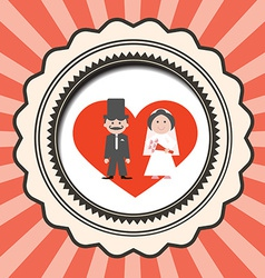 Red Retro Flat Design Wedding Card with Groo vector