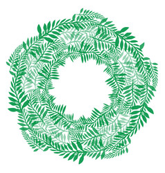 Round wreath of green branches frame of fern vector