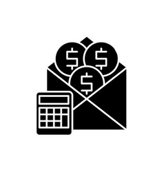 salary black icon sign on isolated vector image