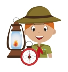 Scout character with lamp isolated icon design vector