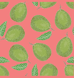 Seamless pattern with ripe guava with leaf vector