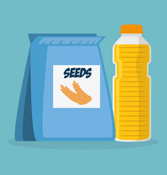 Seeds bag with juice bottle vector