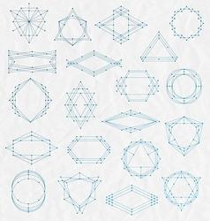 set line art hipster frames on a creased paper vector image
