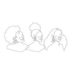 Set line art portrait african american women vector