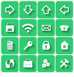Set of Green Flat Style Square Buttons vector image