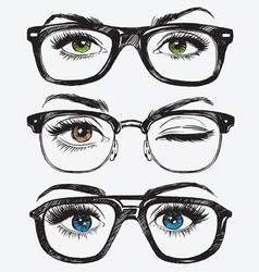Set of hand drawn womens eyes with glasses vector