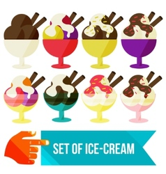 set of ice cream in a bowl vector image
