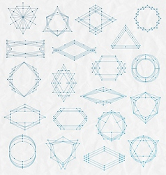 Set of Line art hipster frames on a creased paper vector