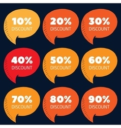 Set of orange and red percent discount speech vector