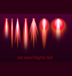set of red searchlights on a transparent vector image