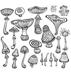 Set of sketch of mushrooms vector