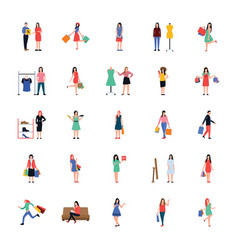 Shopping people flat icons pack vector