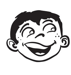 simple black and white smiling boy head vector image