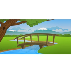 Small wooden bridge vector