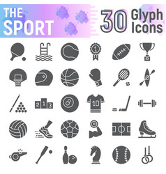 sport glyph icon set fitness symbols collection vector image