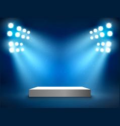 Stage podium with light presentation pedestal vector